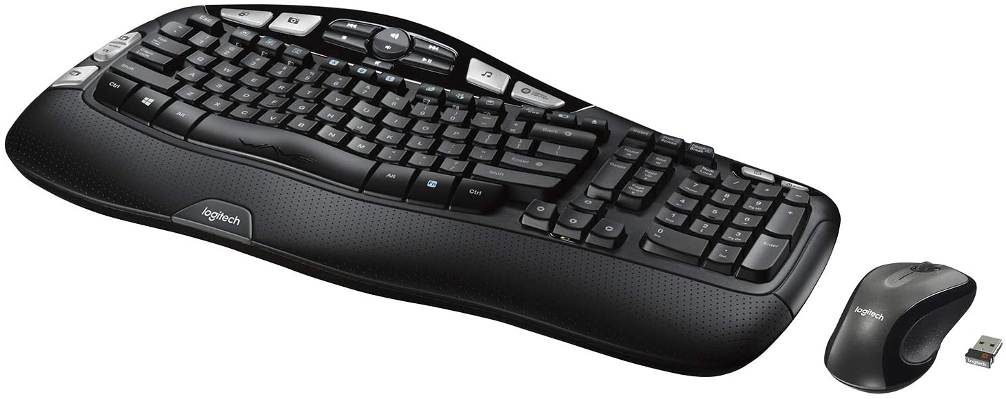 Top Sellers in Computer Keyboard & Mouse Combos - Logitech MK550 Wireless Wave Keyboard and Mouse Combo - Includes Keyboard and Mouse, Long Battery Life, Ergonomic Wave Design - Black