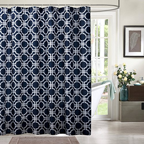 KINDOBEST Deep Blue/Navy Geometry Shower Curtains for Bathroom Accessories Waterproof/Easy Care Polyester Fabric Stall Curtain Size(71×78 inch) (78 Curtain Panel)