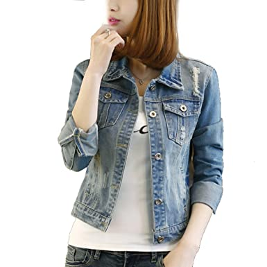 Spring and autumn new jeans jacket, women long sleeve, short ...