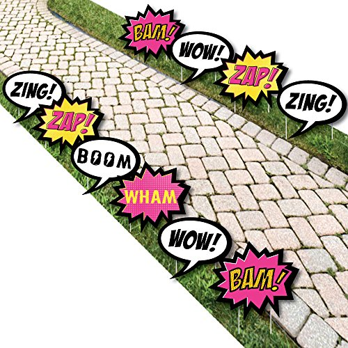 Bam Girl Superhero - Comic Book Lawn Decorations - Outdoor Baby Shower or Birthday Party Yard Decorations - 10 -