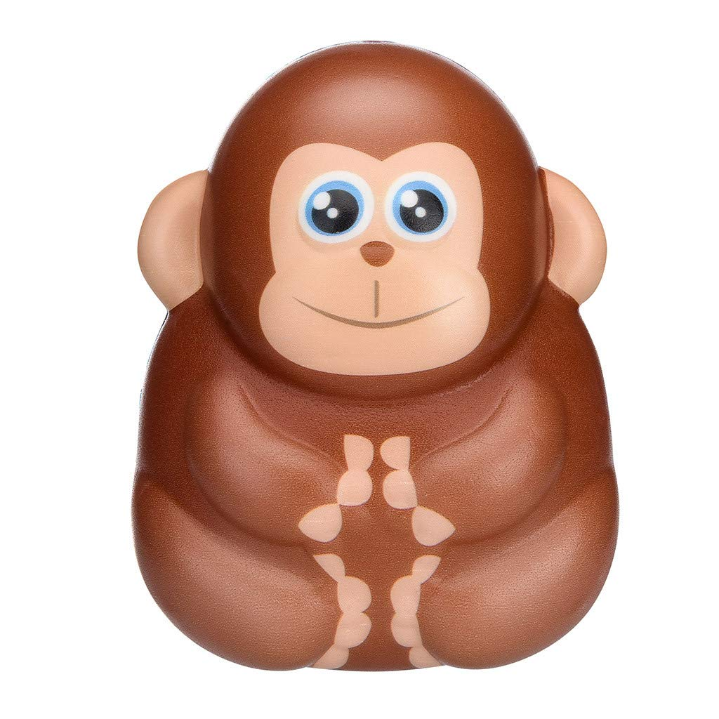 KFSO Jumbo Stress Reliever Squeeze - Squishies Toy Kawaii Adorable Monkey Toy Slow Rising Cream Scented Toys Gifts - Home Decoration (Brown)