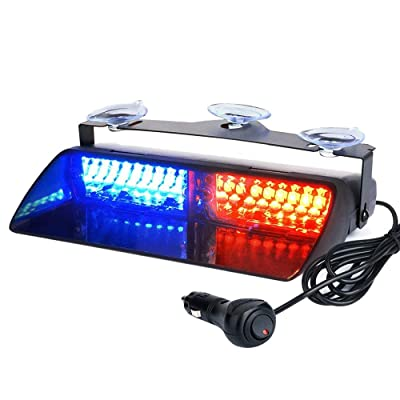 Auxbeam LED Law Enforcement Emergency Hazard Warning Strobe Lights for Interior Roof/Dash/Windshield with Suction Cups(Red+Blue): Automotive