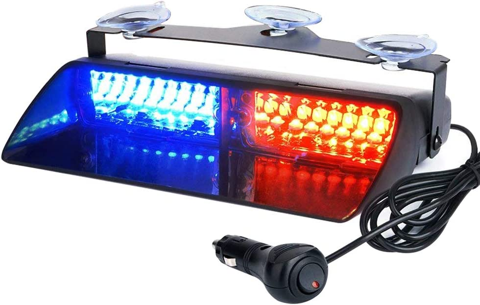 Auxbeam LED Law Enforcement Emergency Hazard Warning Strobe Lights for Interior Roof/Dash/Windshield with Suction Cups(Red+Blue)