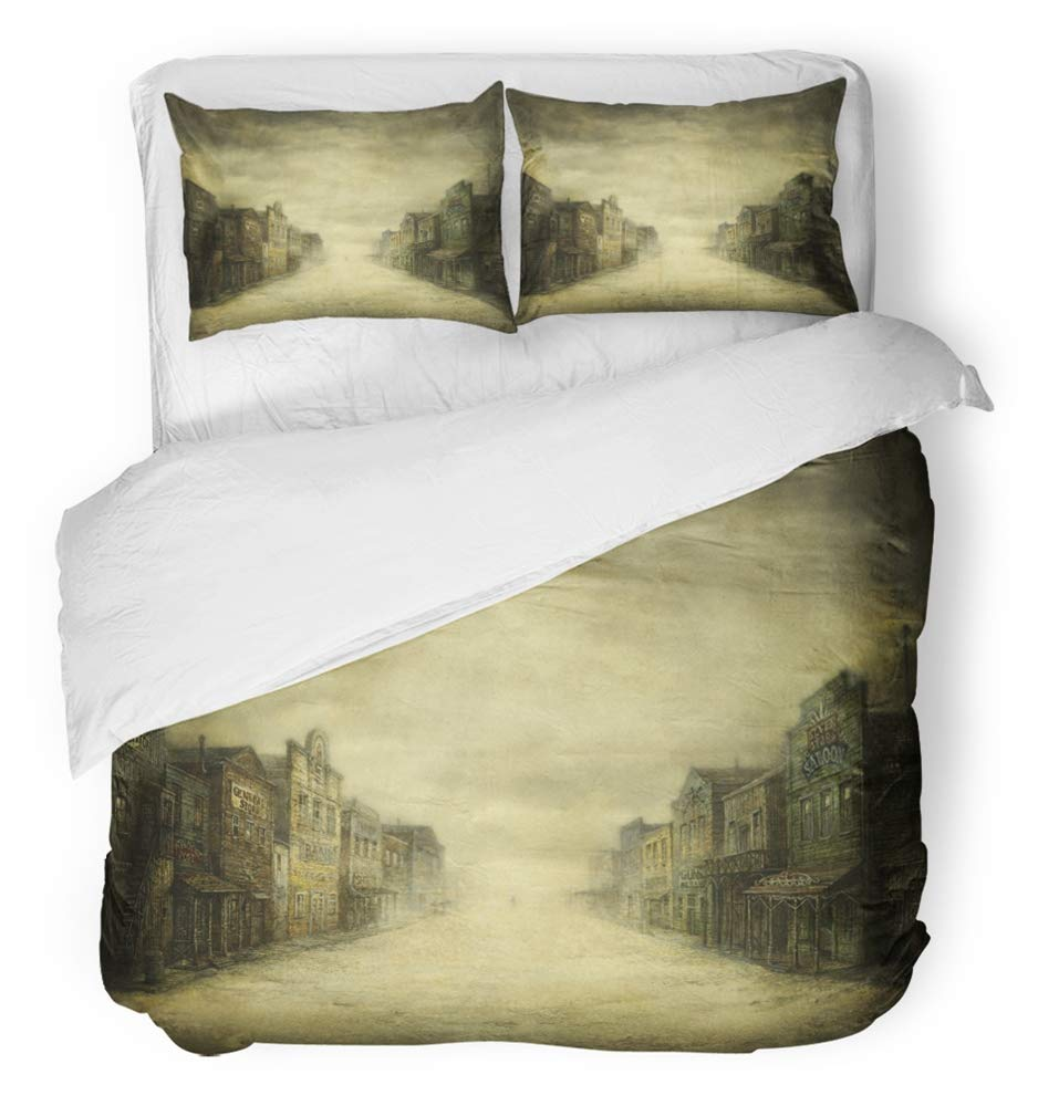 Emvency Bedsure Duvet Cover Set Closure Printed Decorative Western Wild West Town on Old Saloon Street Vintage City Movie Wall Breathable Bedding Set With 2 Pillow Shams Twin Size