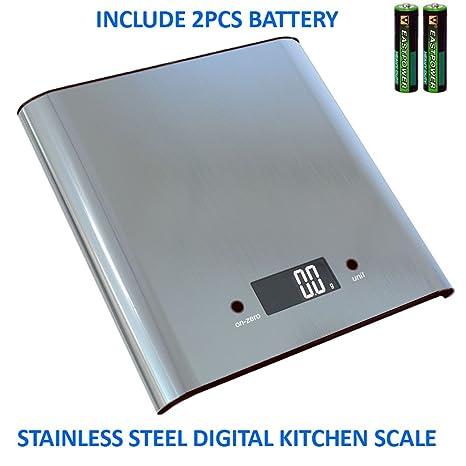 Báscula digital de cocina alimentos escala 11Lb 5 kg peso capacidad, acero inoxidable, precisos