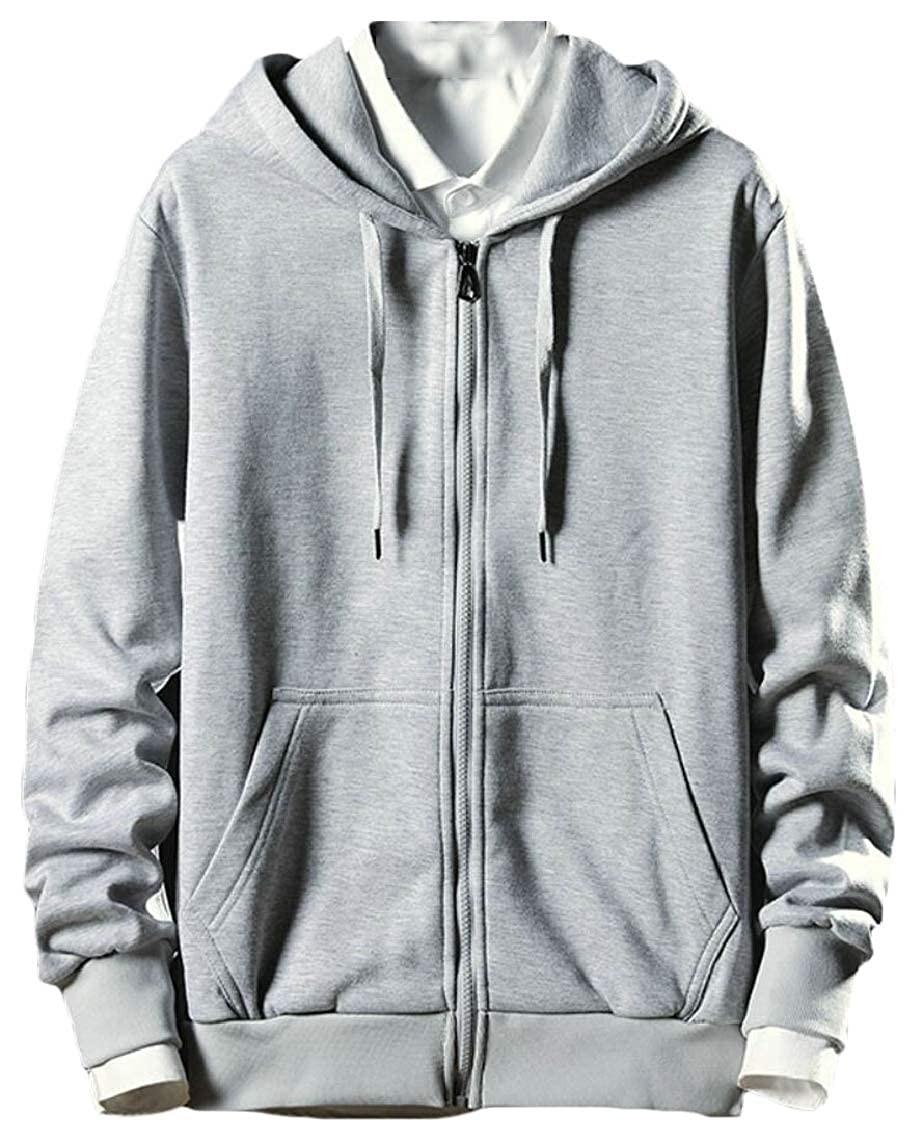 Yayu Mens Leisure Gym Hoodies Slim Workout Front-Zip Solid Sweatshirt Jackets