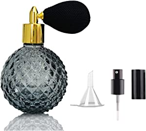 Vintage Refillable Perfume Atomizer Spray Bottle 3.4OZ / 100ml - Classic Sprayer with Air Bulb, Professional Great for bartender Home Bar, SC001 (Black)