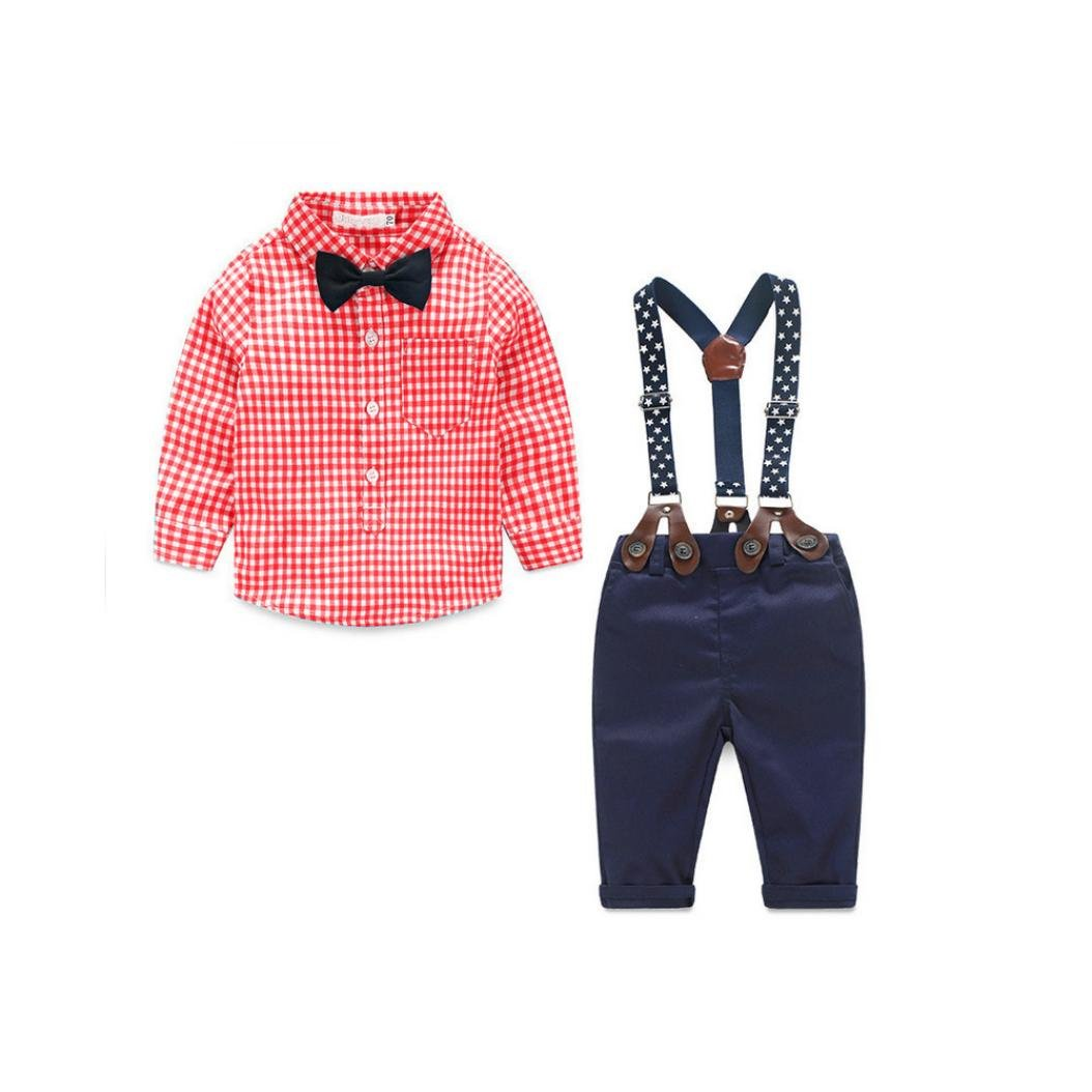 ff6e328b976f Iuhan Clothes Long Sleeve Grid Shirt Suspender Bowknot Gentle Set ...
