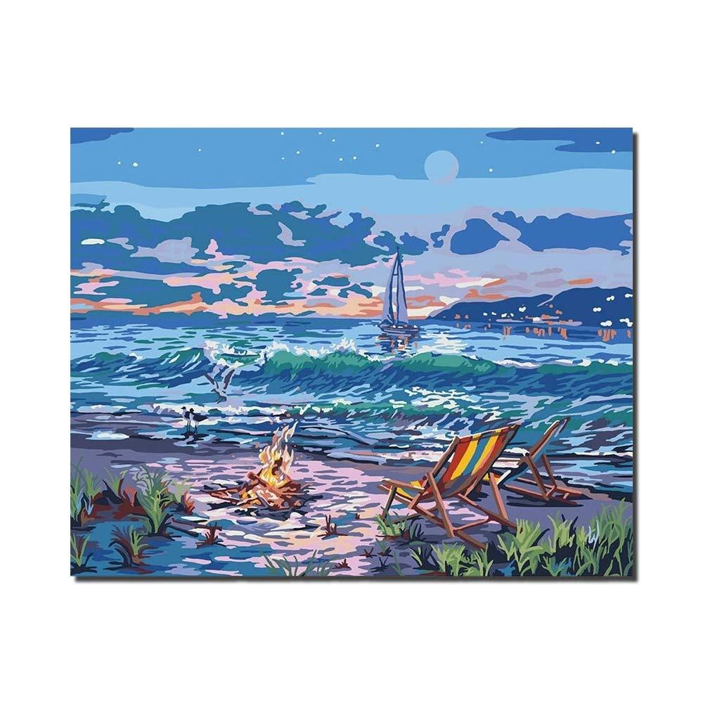 Beach View colore della pittura a olio di DIY da numero 16x20 pollici modello romantico soggiorno camera da letto ufficio Home Decor con telaio interno,framedcanvas