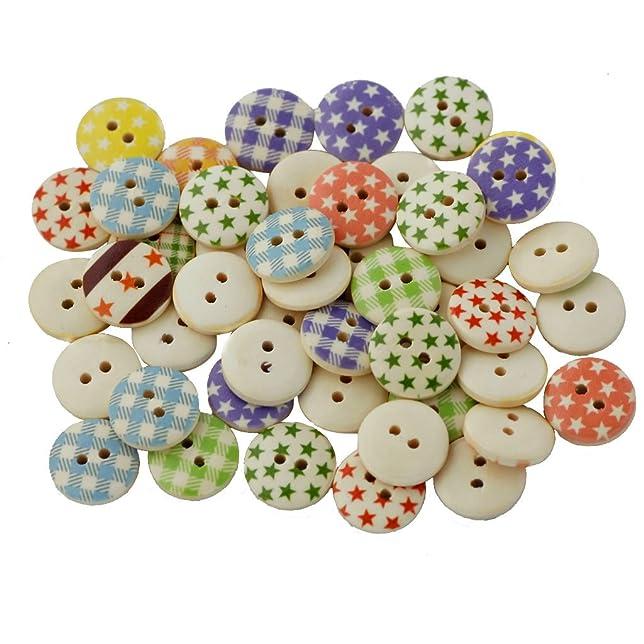 47 opinioni per 100pz Stella Tondo Dipinto Cucire Bottoni In Legno 2 Fori DIY Mestiere