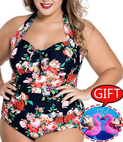 (AkiWoo Women's Swimsuit Plus Size Monokini Halter Printed Floral Tummy Control One Piece Sexy Bathing Suit, A-flower Black, 【US 16-18】XXL)