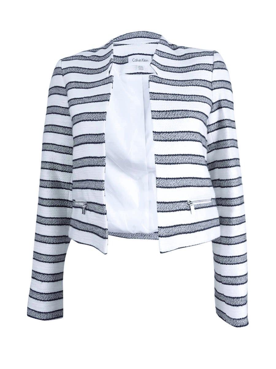 Calvin Klein Women's Petite Size Boucle Stripe Open Jacket, White/Navy, 2P