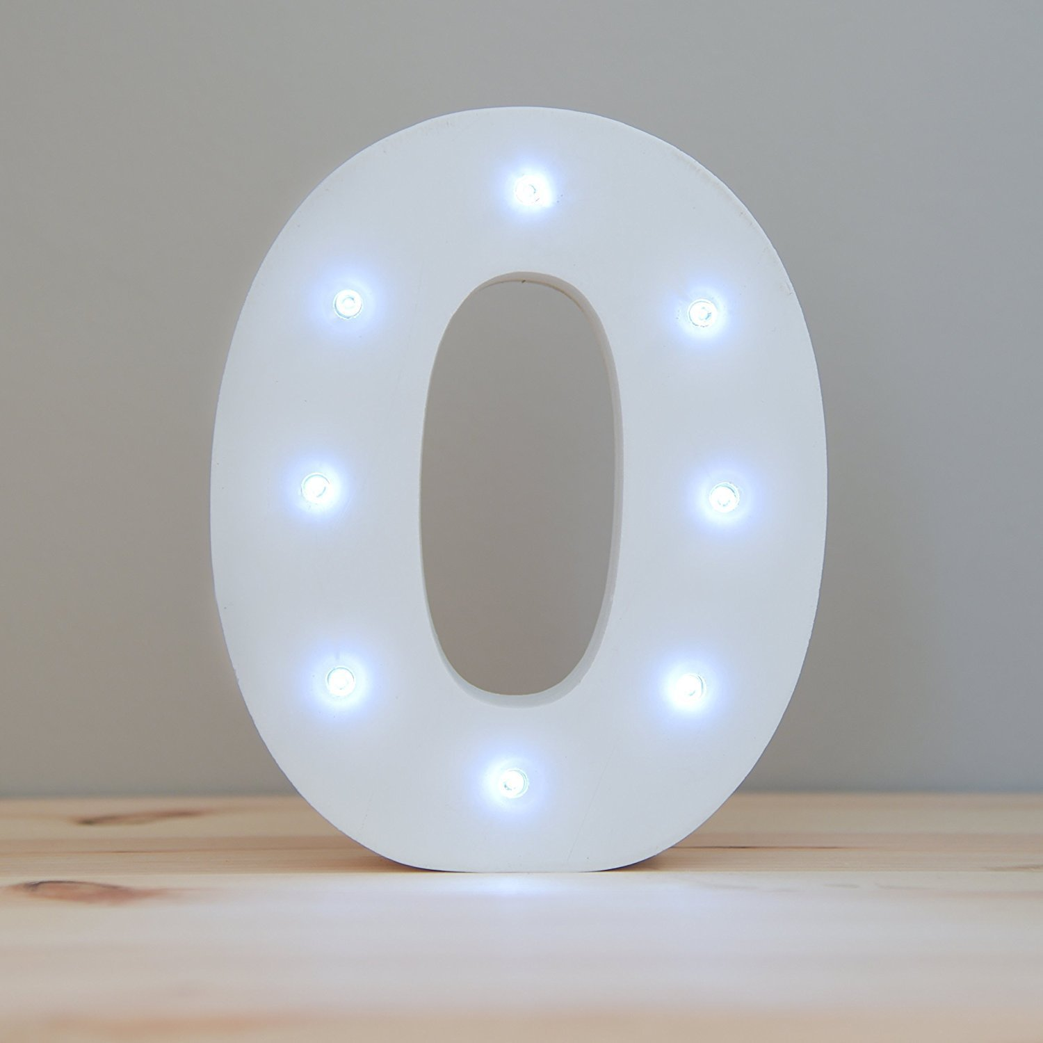 WONFAST Decorative Light up Wooden Number Letters, White Wood Marquee LED Number Lights Sign Party Wedding Decor Battery Operated Number (0)