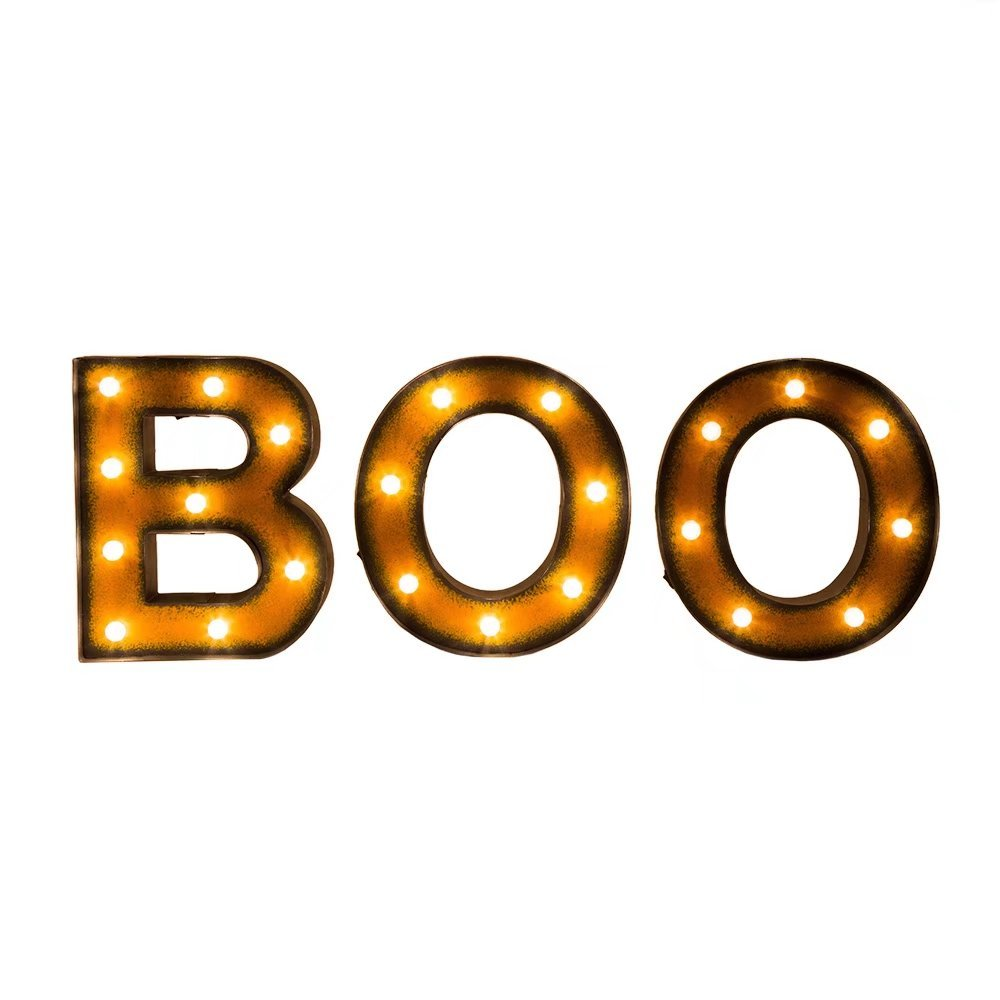 Glitzhome Halloween Marquee LED Boo Sign Wall Decor Battery Operated