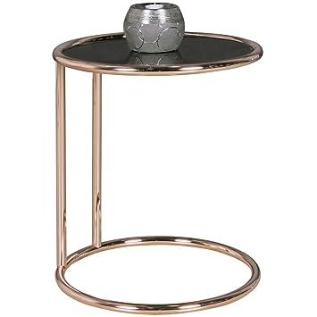 Design Beistelltisch Metall Glas ø 45 Cm Schwarz Kupfer