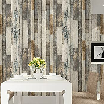 HaokHome 605 Vintage Wood Wallpaper Rolls Tan Beige Brown Wooden Plank Murals Home Kitchen