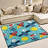 ALAZA Cartoon Space Solar System Area Rug Rugs Mat for Living Room Bedroom 7'x5'