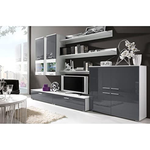 Superb JUSTyou CAMI II Wohnwand Anbauwand Schrankwand Farbe: Weiß Matt / Grau  Hochglanz Good Ideas