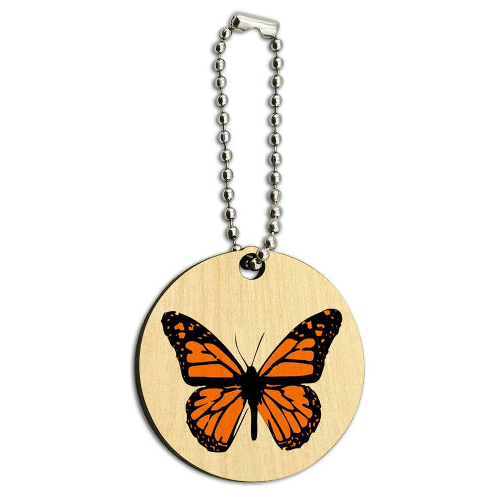 Monarch Butterfly Wood Wooden Round Key Chain