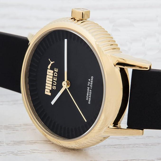 8a89a02e50a0 Reloj PUMA Time - Mujer PU104252002  PU10425 Suede - Gold black  Amazon.es   Relojes