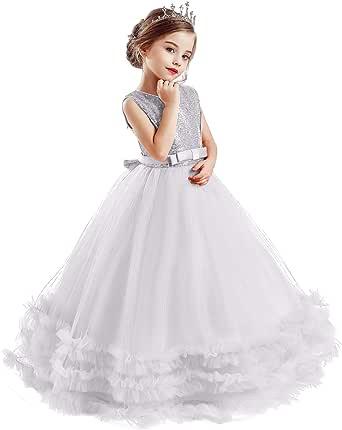 TTYAOVO Vestido de Novia Princesa de Encaje hasta el Suelo para Niñas Vestidos de Tul