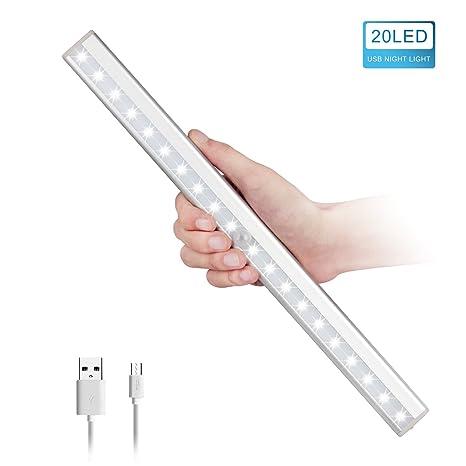 HogarTech Lámpara LED del Armario, 20 LEDs Recargable Inalámbrica con Sensor de Movimiento para Armario