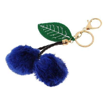 Amazon.com  Baosity Creative Girls Cherry Key Chain Pom Pom Key Ring Key Fob  Handbag Car Pendant -Blue  Automotive 445bce7ba57a