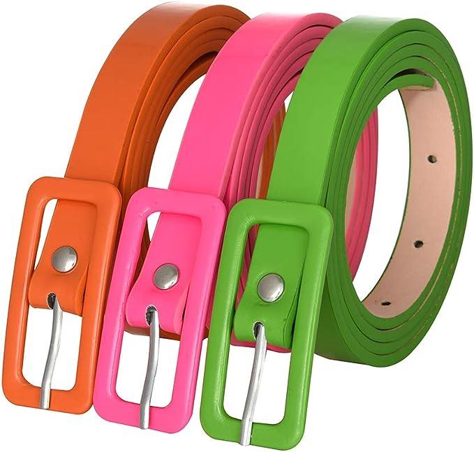 A History of Belts 1920-1960 Womens 3 Pack 80s Belts Covered Buckle Neon Patent Leatherette Skinny Belt Green Orange Pink Belt $10.99 AT vintagedancer.com