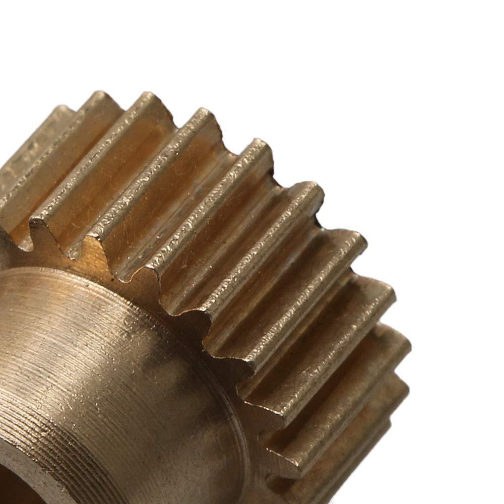 21 Teeth 5mm 0.5 Modulus Motor Pinion Gear Copper for Transmission Golden