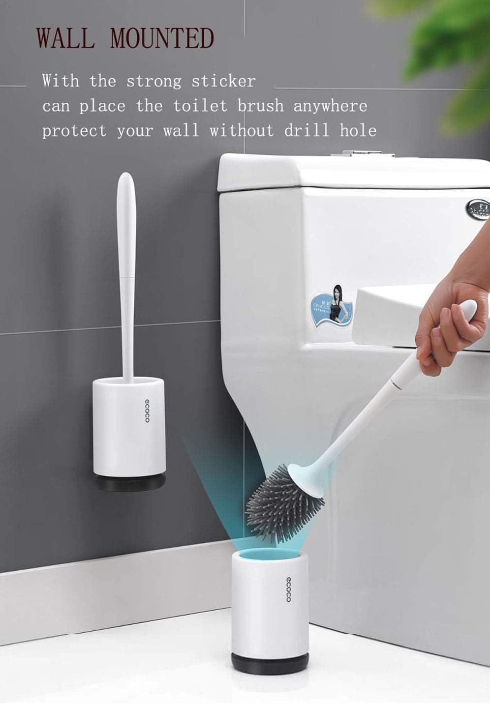 Toilet Brush Soft Bristle Bathroom Magnetic Suspension Bowl Holder Set Durable