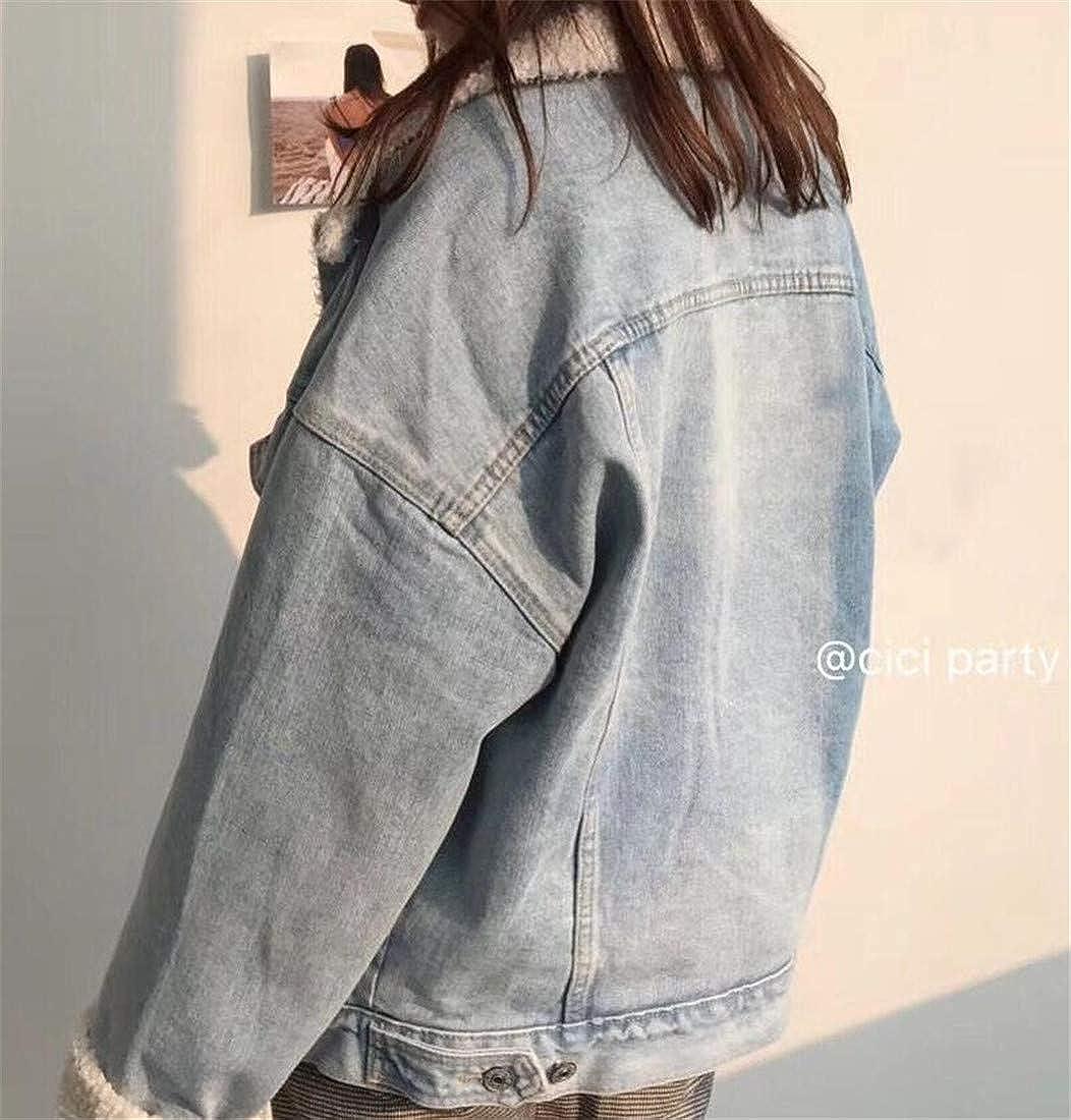 JSY Womens Winter Lapel Fleece Denim Single Breasted Parka Jacket Coat