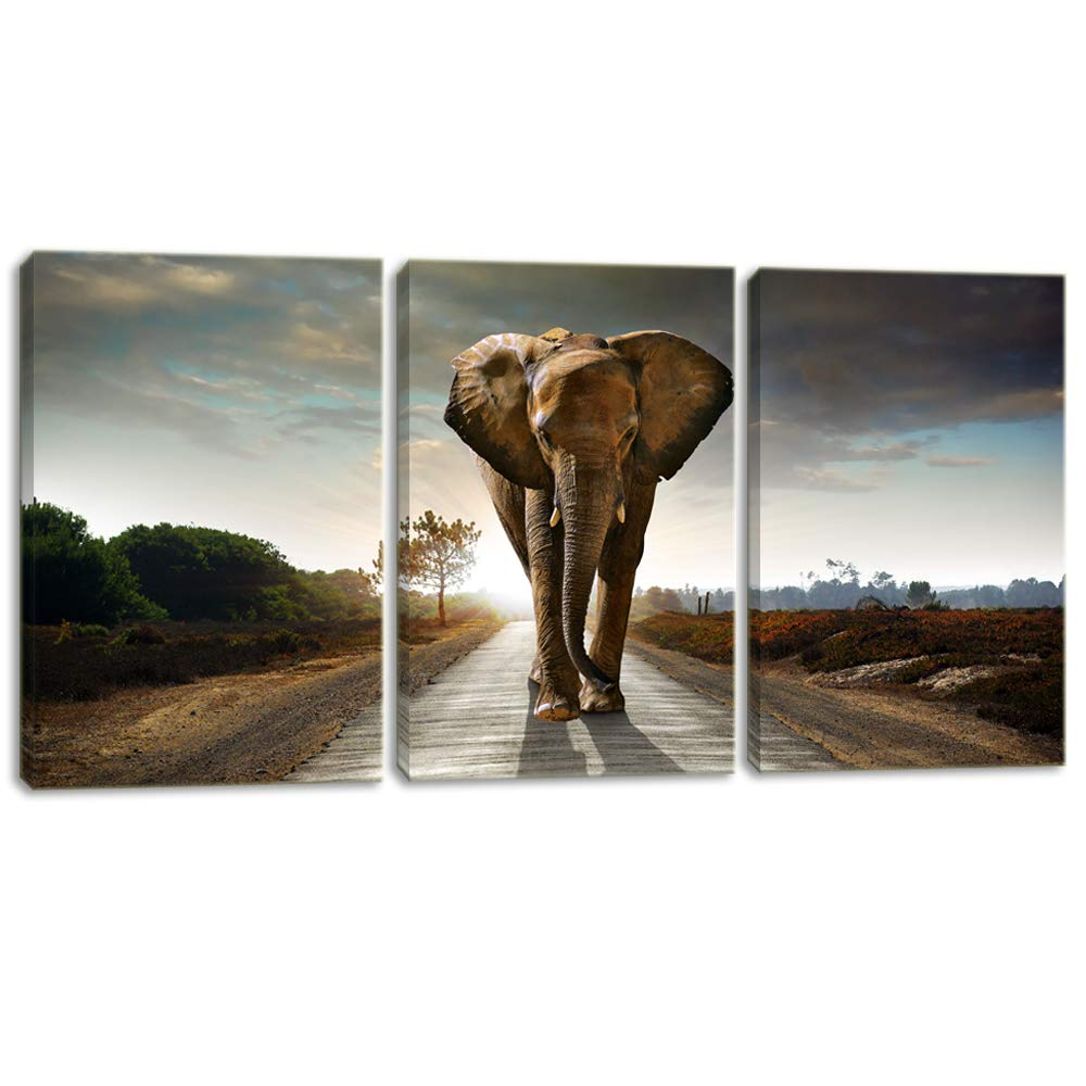KALAWA Animal Canvas Wall Art African Landscape Scenery Print Pictures Elephant Print Painting Artwork for Living Room Modern Home Decor Stretched and Framed Ready to Hang(12″ W x 16″ H x 3 Panels)