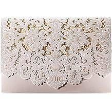 Doris Home Ivory Horizontal Laser Cut Wedding Invitation Cards Kit Wiith Hollow Flora Favors 50pcs,CW073