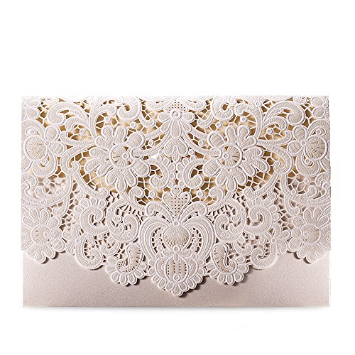 Doris Home wedding invitation card laser cut laser wedding invitation card Doris Home Ivory Horizontal Laser Cut Wedding Invitation with Hollow Flora Favors 100pcs,CW073