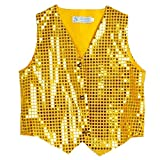 Anlydia Boys Teens Shiny Party Vests Sequins Shirt Waistcoat for Prom,Wedding,Dance Costumes (Yellow-140CM)