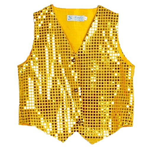 Anlydia Boys Teens Shiny Party Vests Sequins Shirt Waistcoat for Prom,Wedding,Dance Costumes (Choir Boy Costumes)