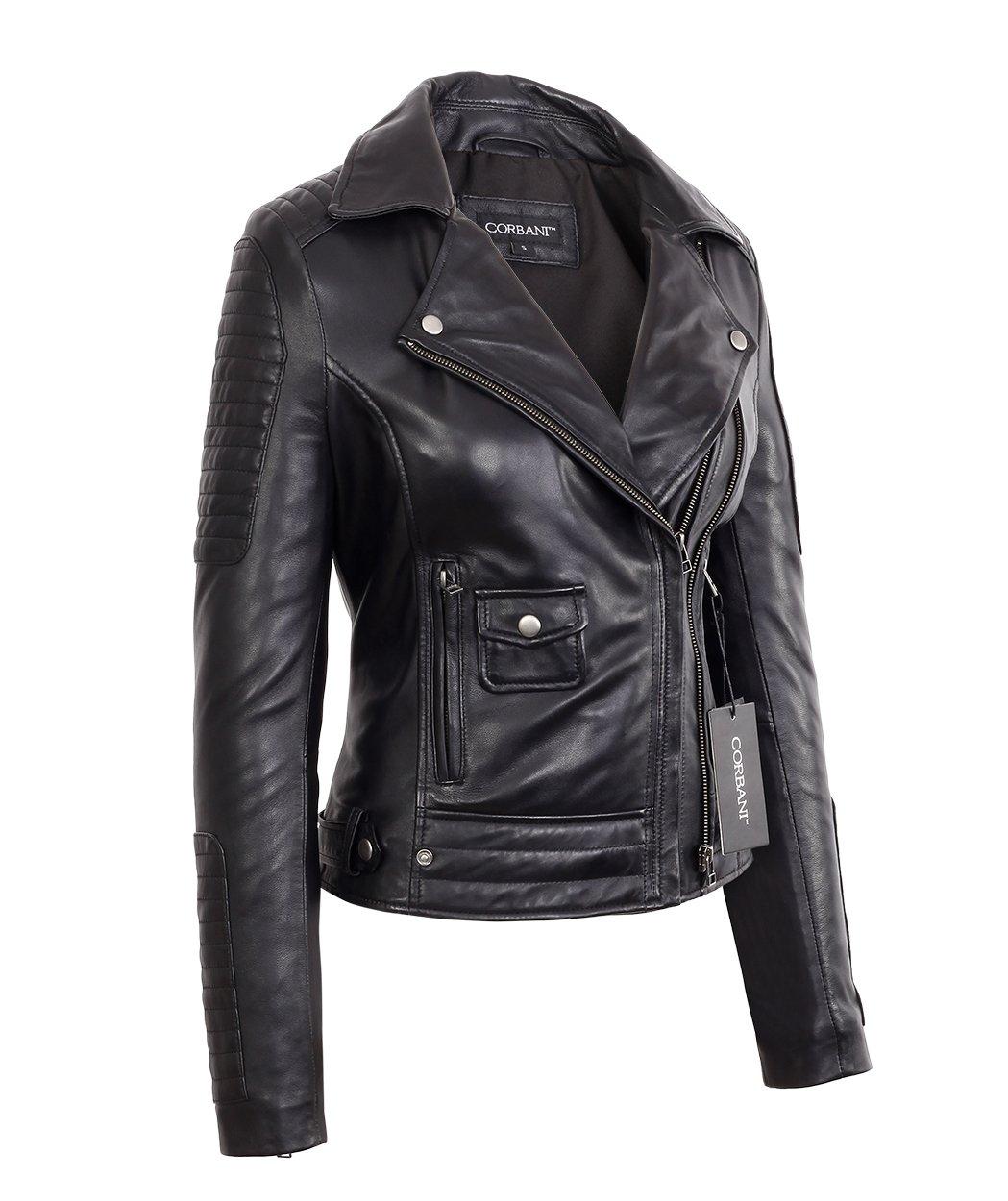 Womens Black Asymmetrical Moto Style Lambskin Real Leather Jacket (X-Small, Black) by Corbani