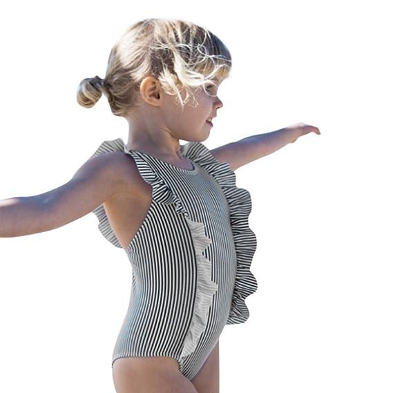 ebcd0912c504 Amlaiworld Bañador Bebé Niñas Bañadores a Rayas para bebés Bikini para bebé  Infantil Ruffles Trajes De Baño Bañadores de baño de una Pieza Bodies  Peleles: ...