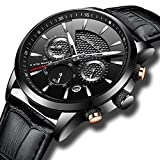Fashion Chronograph Watches for Men Sport Wrist Watch Black Leather Strap with Date