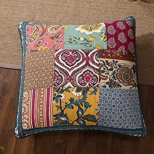 "DaDa Bedding Bohemian Dark Elegance Quilted Patchwork Square Pillow Accent Euro Cover Case - Bright Vibrant Multi-Color Floral Navy Blue Purple Print - 26"" x 26"" - 1-Piece"