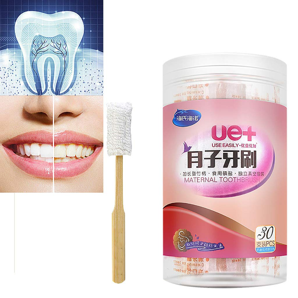 Celendi Gauze Toothbrush 30pcs/Set Disposable Soft Maternal Gauze Toothbrush Pregnant Toothbrushes White