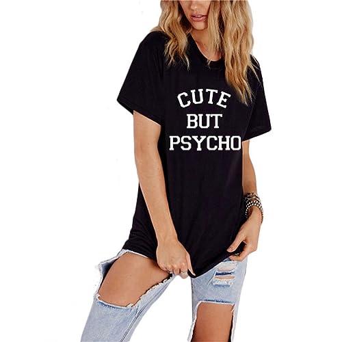 BLACKMYTH Mujer Camisetas Para Estampar Casual Redondo Algodón Suelta Tops Señoras T-shirt