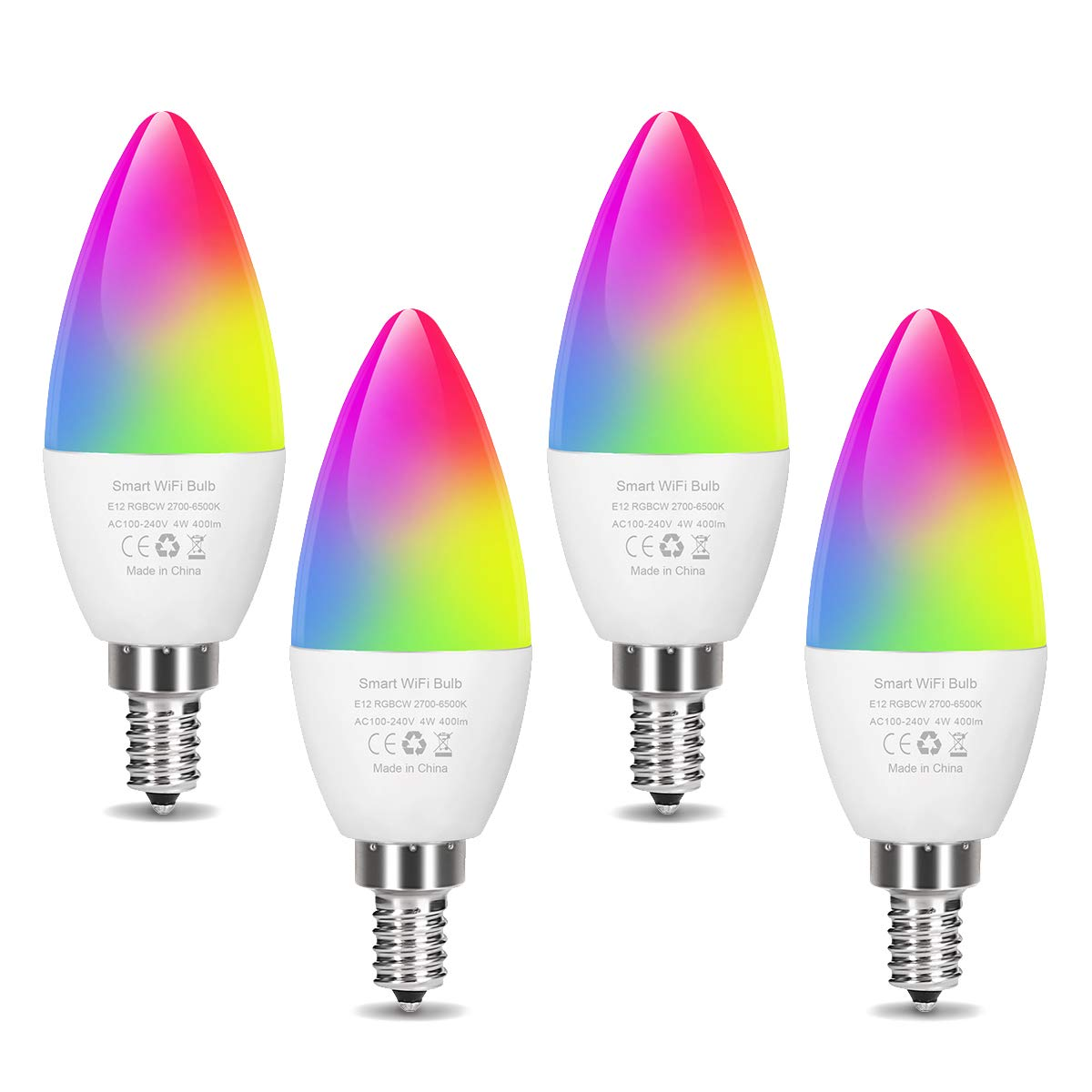 Smart LED Light Bulb E12 Candelabra Bulb WiFi Color Changing LED Bulbs, Dimmable Ceiling Fan Light 40W Equivalent, Smart Chandelier Lighting Work with Alexa Google Home for Home Room Decor (4 Pack)
