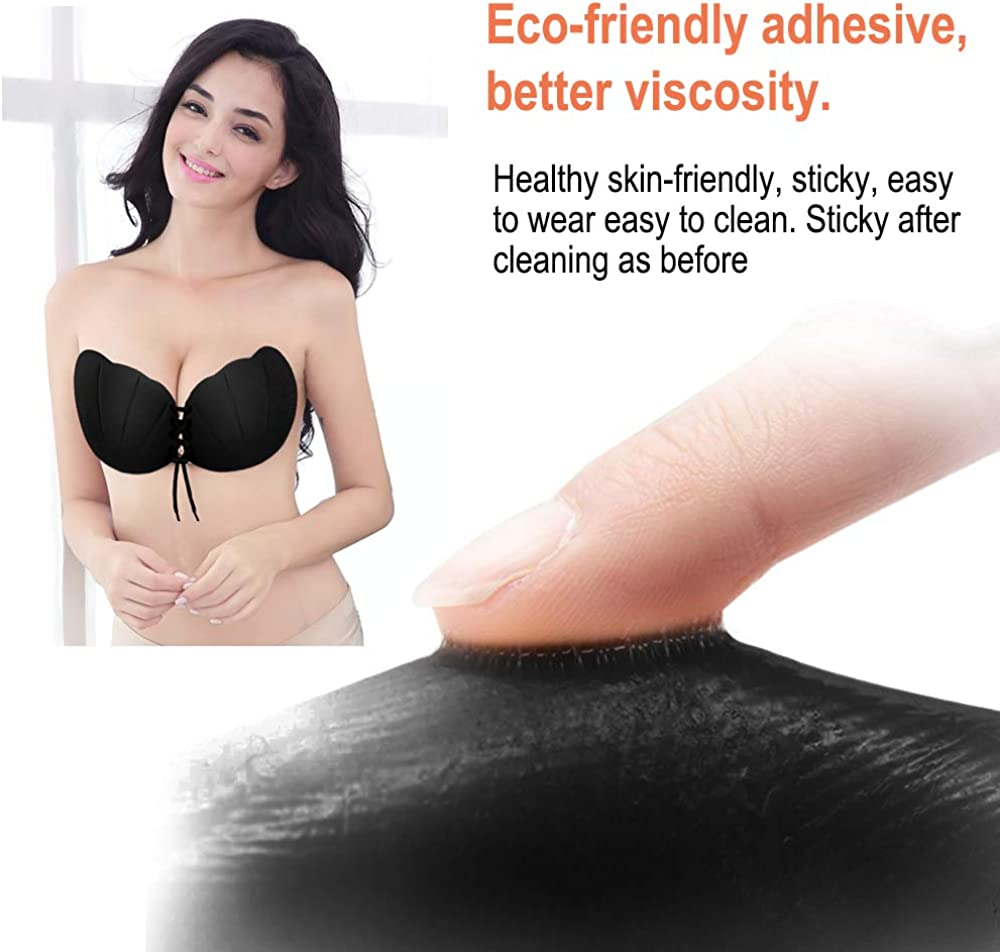 Backless Bra Push Up Bra Invisible Strapless Bra Self Adhesive Straps Sticky Reusable Bra Vegena Adhesive Bra