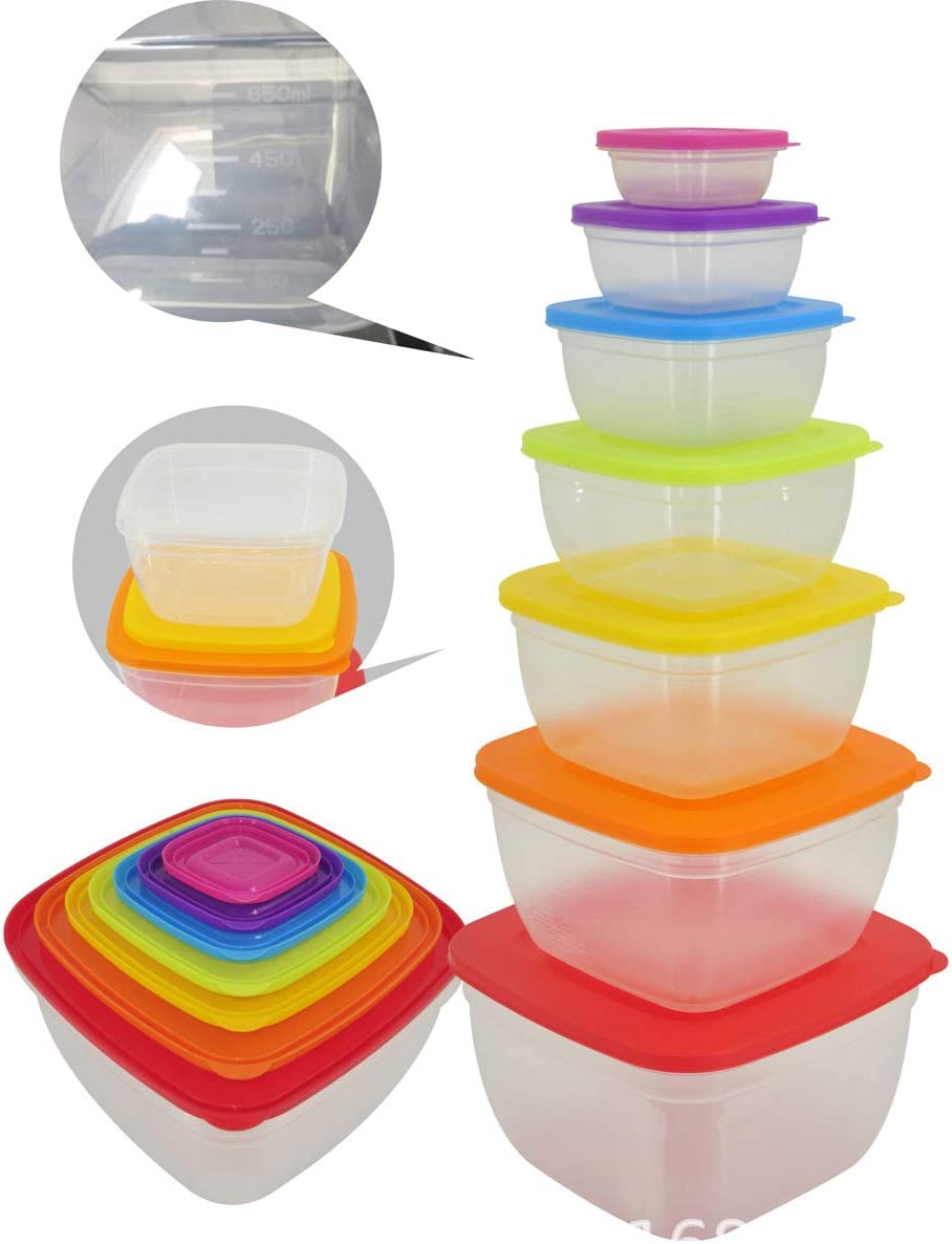 Refrigerator Kitchen Food Storage Containers With Lids Set Plastic Clear With Multi-Color Lids Set of 7