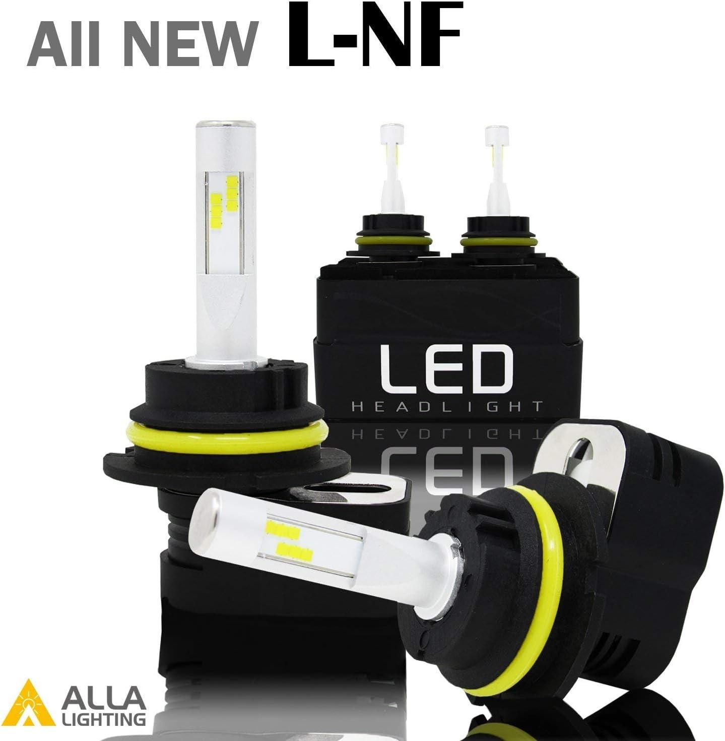 Set of 2 Alla Lighting L-NF Vision H13 LED Headlight Bulbs Extreme Super Bright LED H13 Headlight Bulbs 9008 H13 6000K ~ 6500K Xenon White H13 Bulb 8400Lm H13 9008 LED Headlight Conversion Kit Lamp