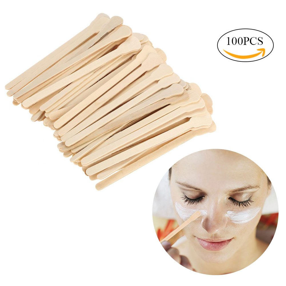 Wax Applicator Sticks, 100pcs Salon Waxing Hair Removal Large Wooden Wax Applicator Sticks Filfeel
