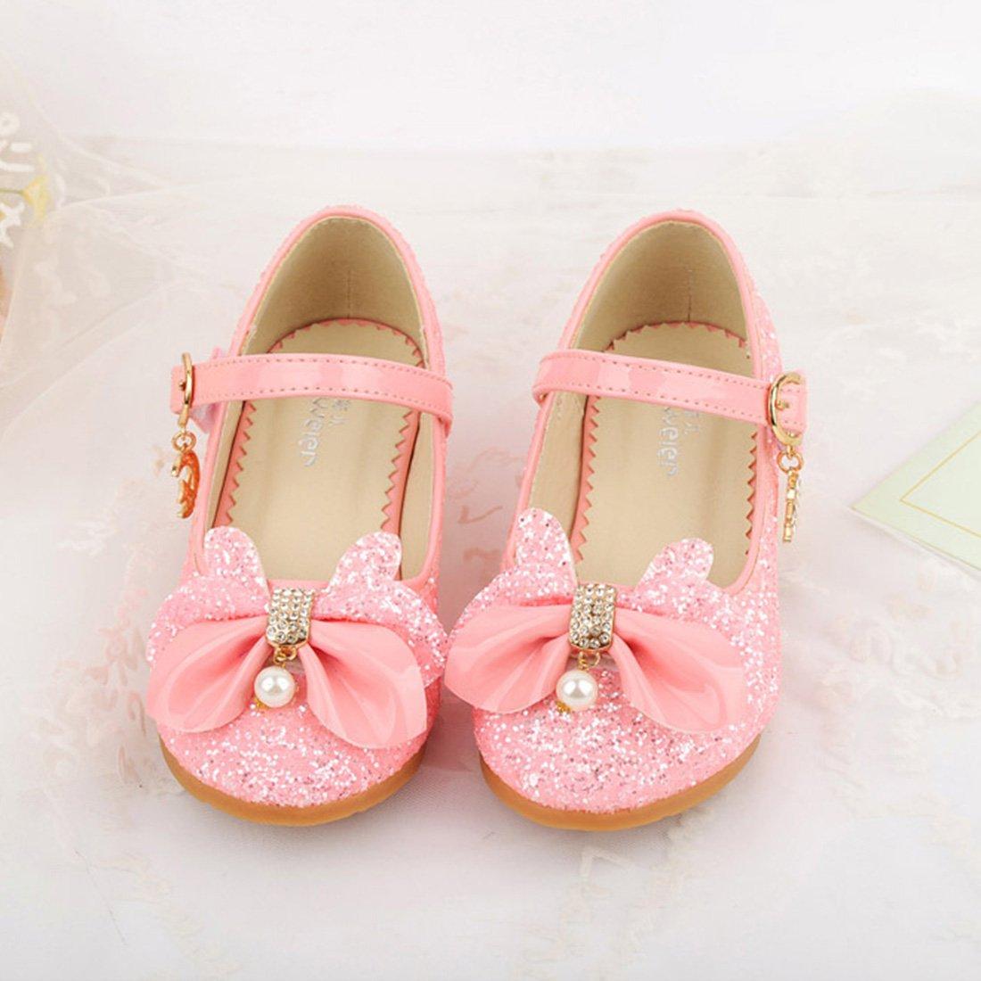 YIBLBOX Kid Girls Mary Jane Princess Dance Shoe Glitter Party Dress Performance Low Heels Shoes