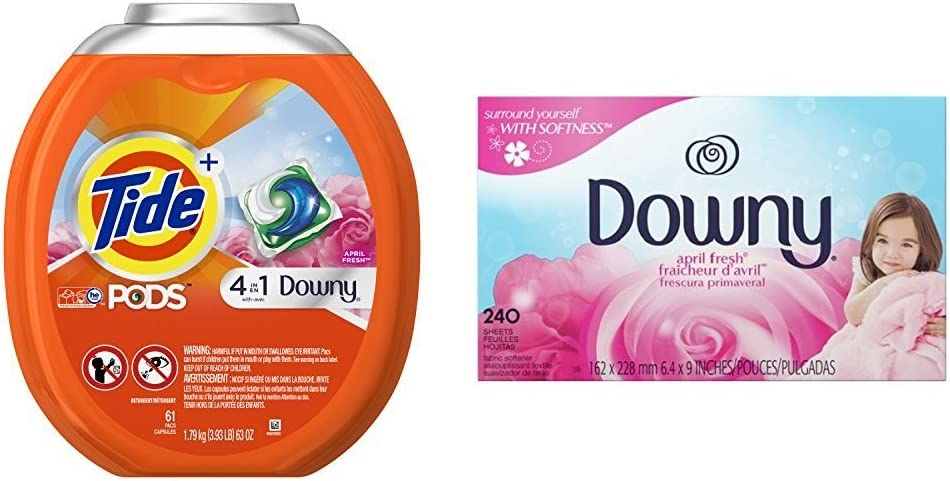 Tide PODS Plus Downy HE Turbo Laundry Detergent Pacs, April Fresh, 61 Count with Fabric Softener Dryer Sheets, 240 Count