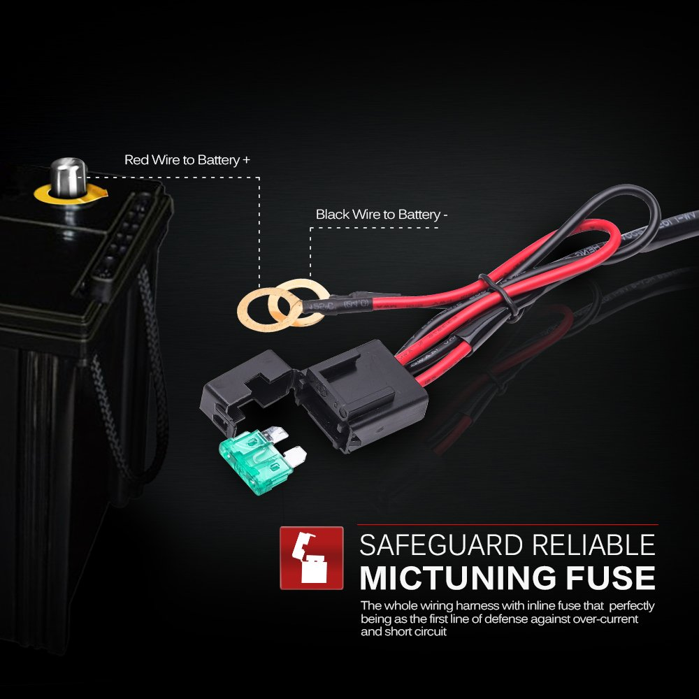 61yUnSd TfL._SL1000_ amazon com mictuning hd 300w led light bar wiring harness fuse OEM Wiring Harness Connectors at bayanpartner.co